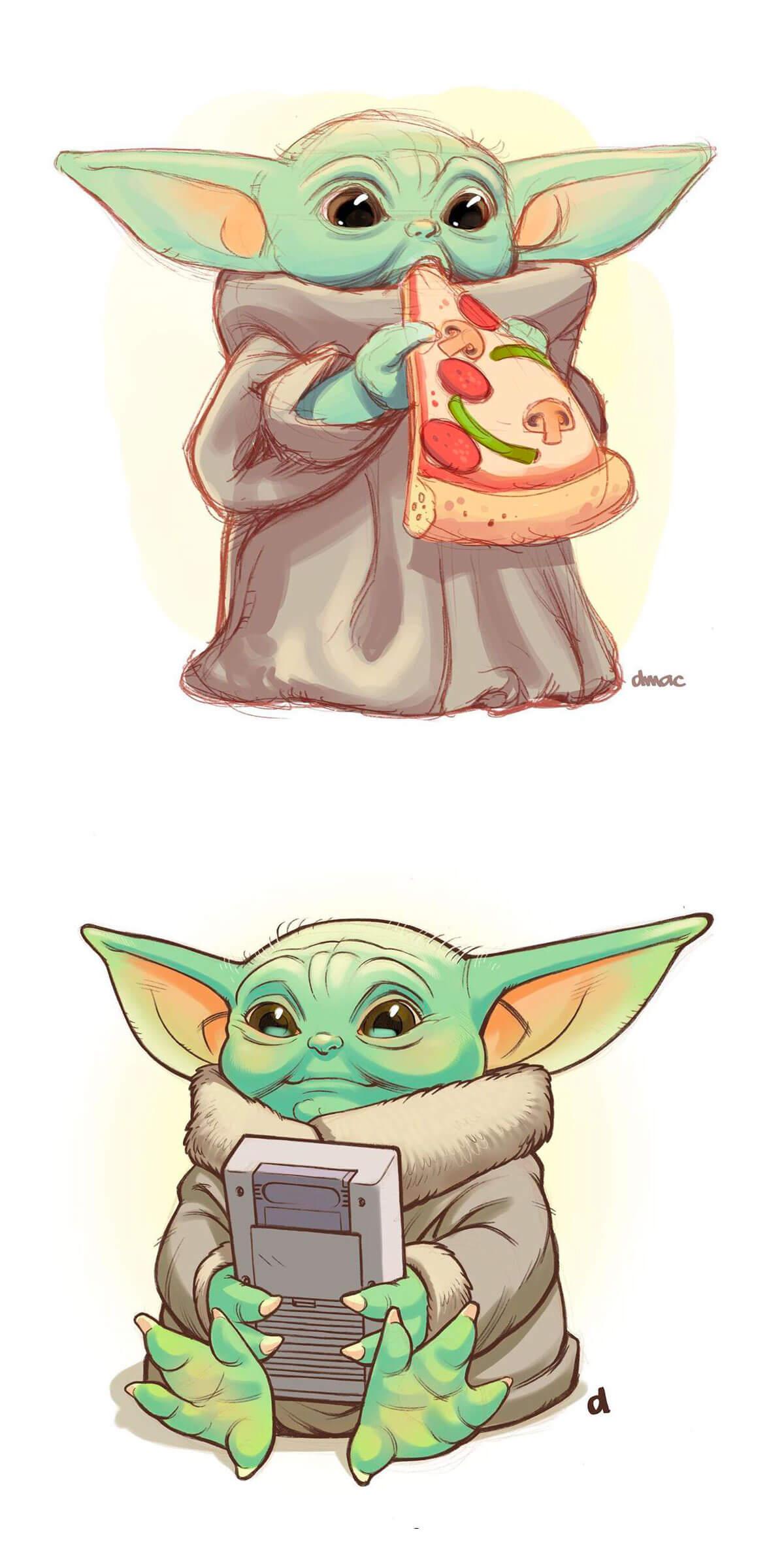 Baby Yoda Fan Art by Darren Calvert