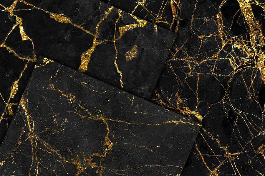 Gold Glitter & Black Marble Textures