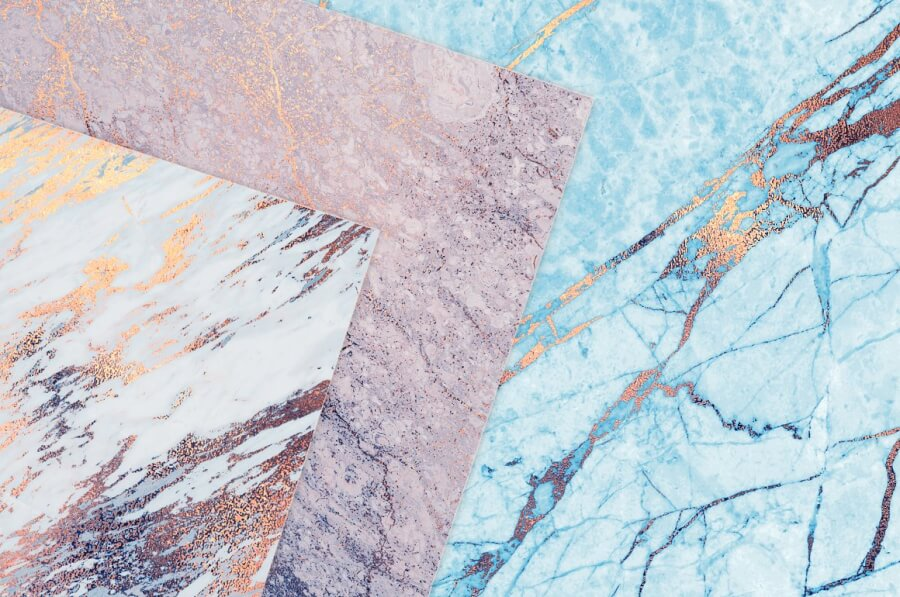 Rose Gold and Blue Marble Textures