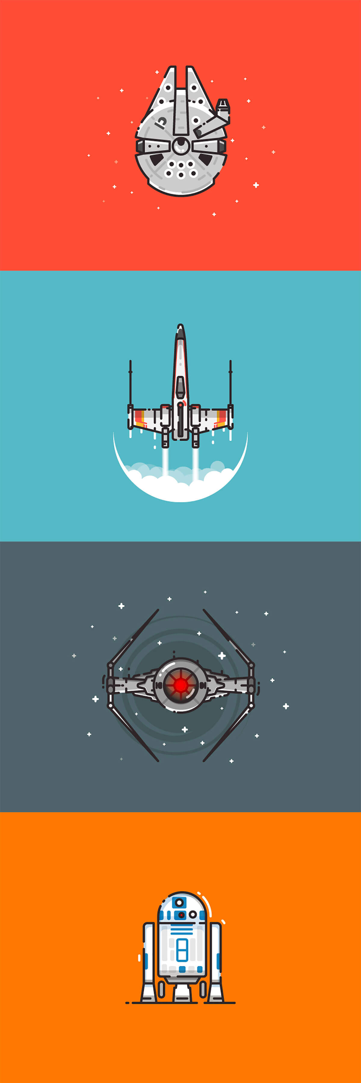 Star Wars spaceship illustrations by Infographic Paradise
