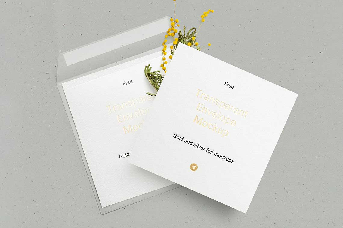 Free Envelope & Square Card Mockup