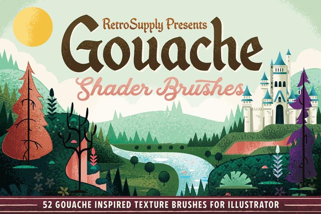 Gouache Shader Illustrator Brushes