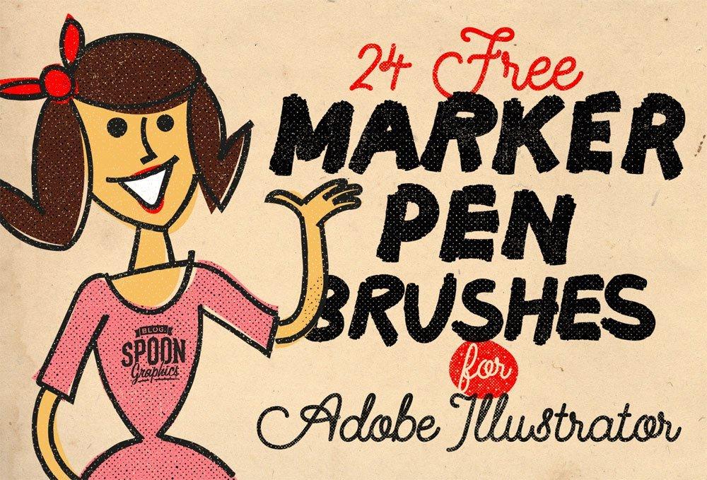 Pack of 24 Marker Pen Illustrator Brushes