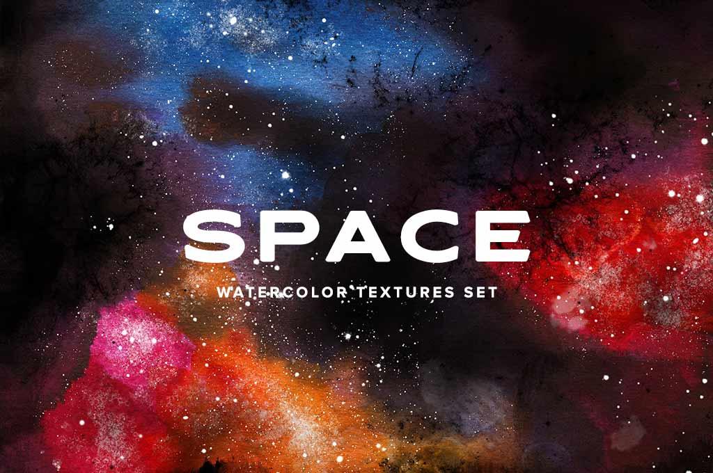 10 Watercolor Space Textures Set