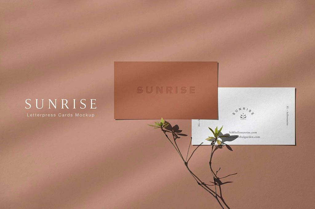 Sunrise - Letterpress Cards Mockup