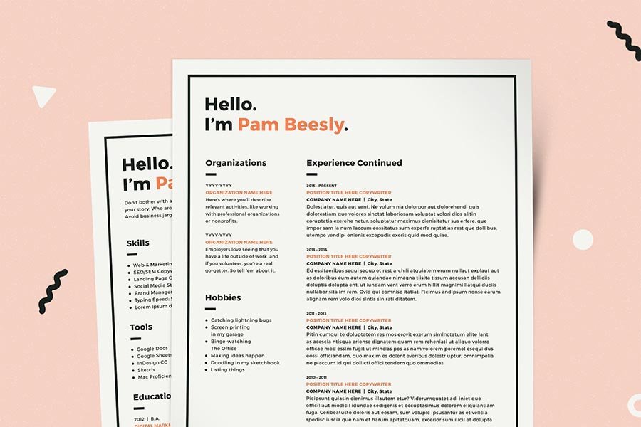 2 Page Resume Template : CV Template