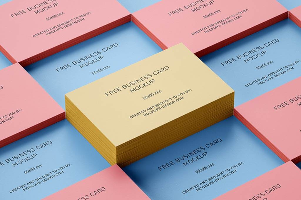 Free Stacked Business Cards Mockup / 55 x 85 mm