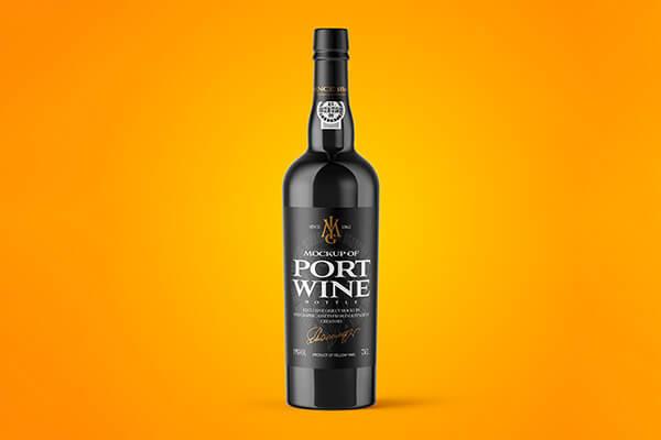 Black Glass Port Wine Mockup