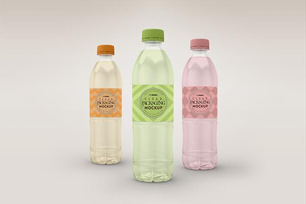 Clear Plastic Bottle Mockup Set