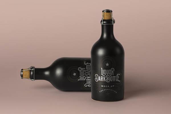 Dark Liquor Bottle Mockup