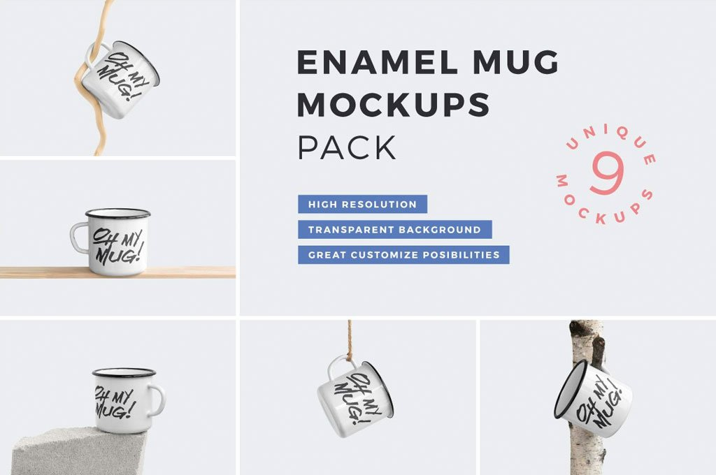 Enamel Mug Mockup Scenes