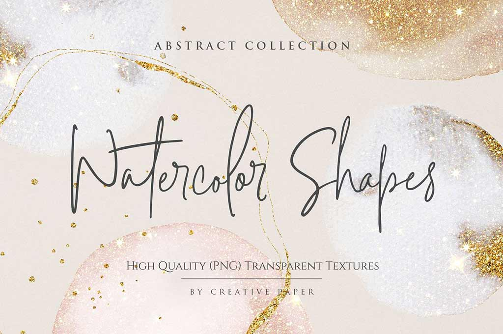 Gold Watercolor Shapes — PNG Overlays