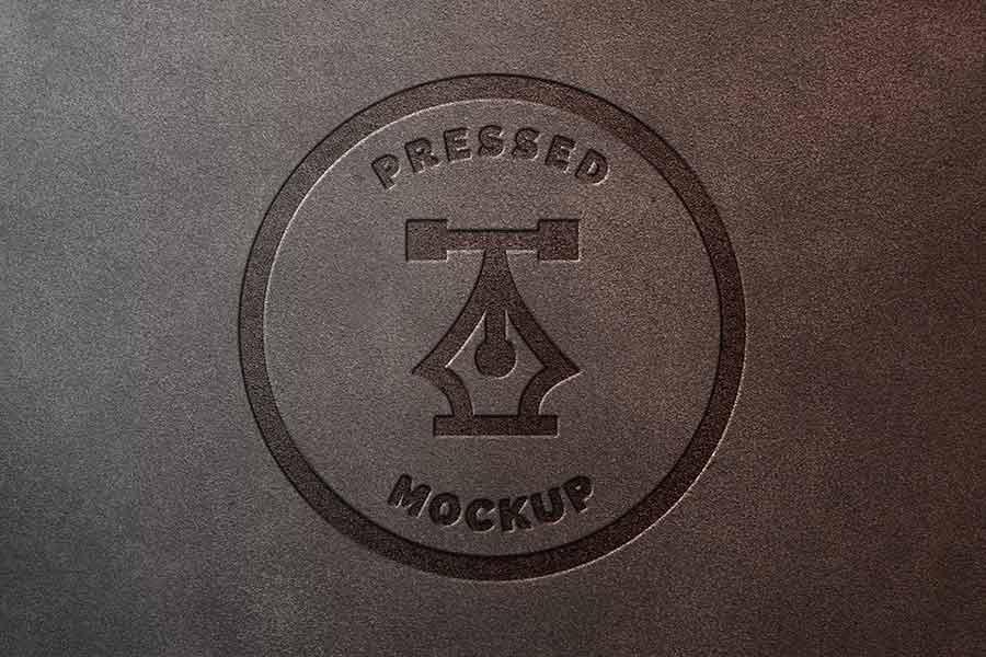 Pressed Leather Logo Mockup