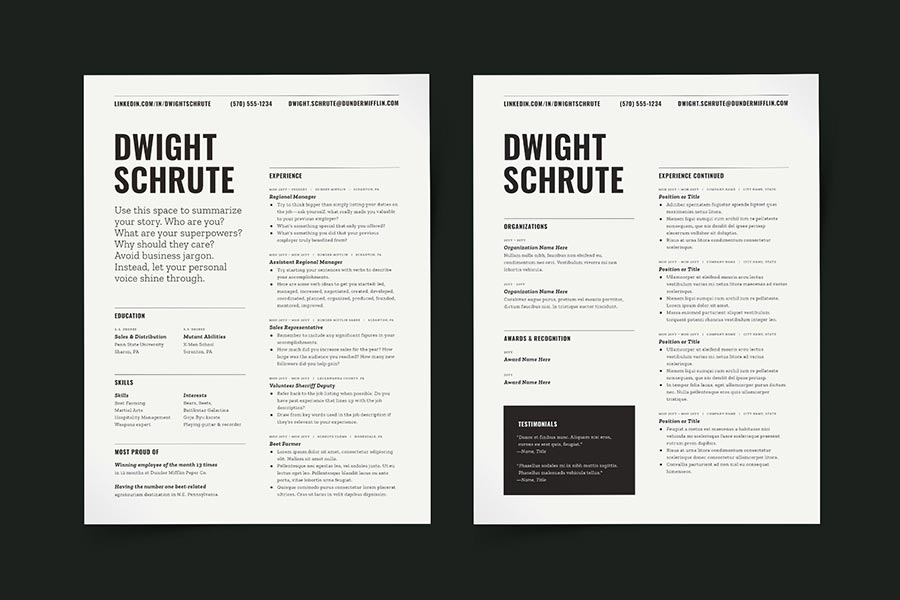 Resume Template Word Pages InDesign