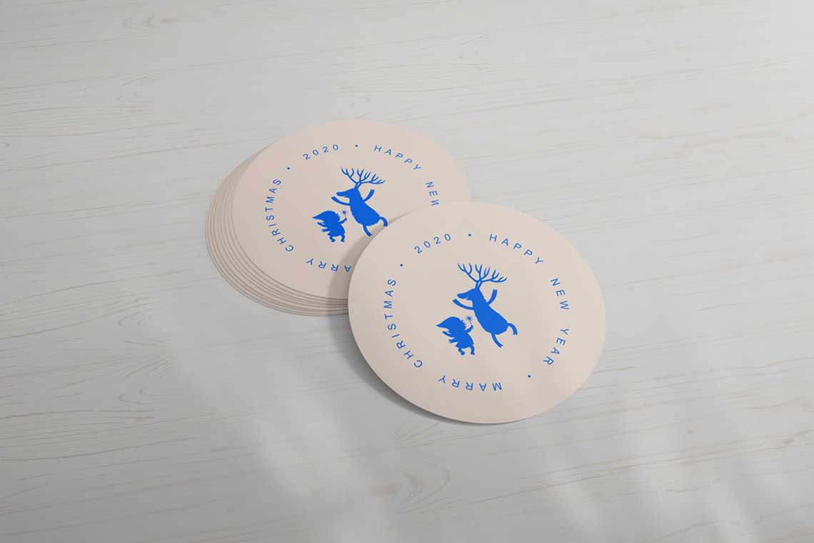 Round Sticker Mockup Set