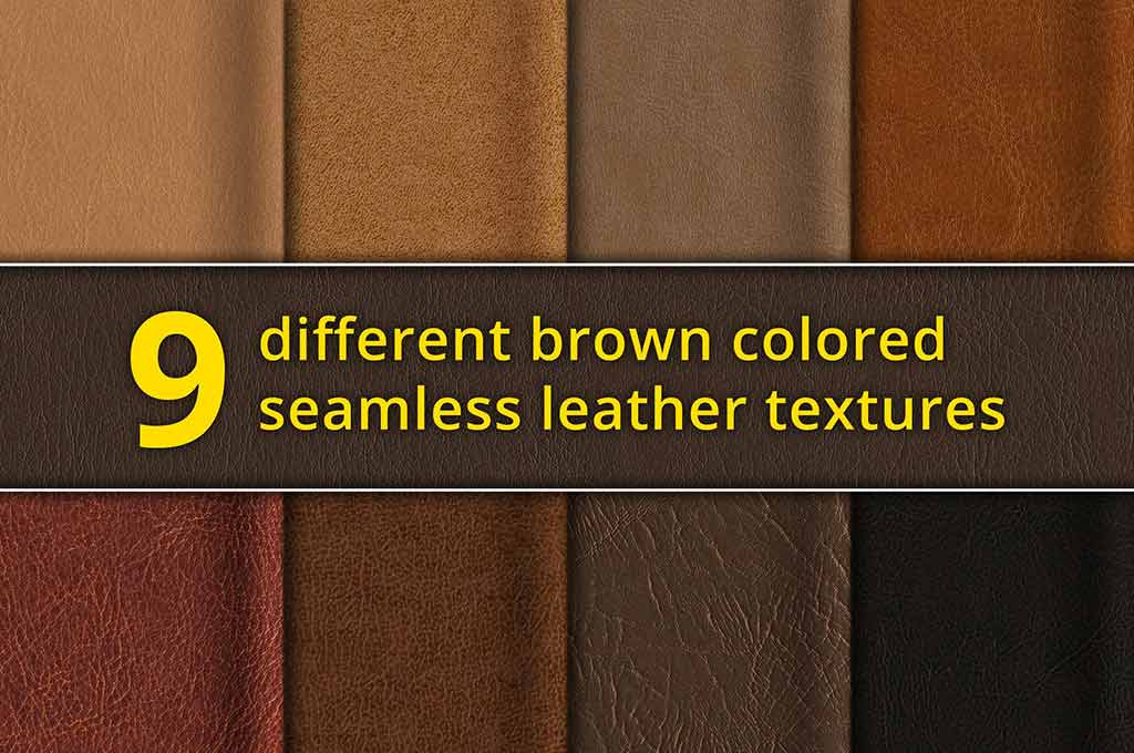 Set of 9 Seamless Brown Leather Textures
