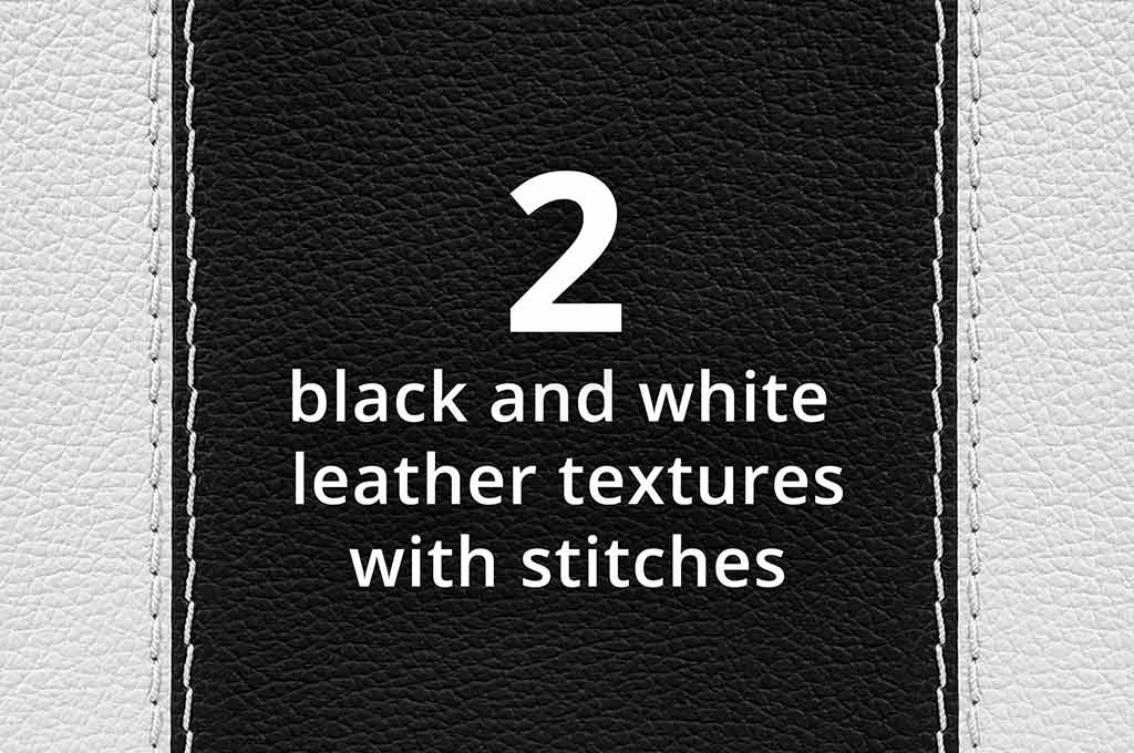 Two Black & White Leather Textures With Stitches