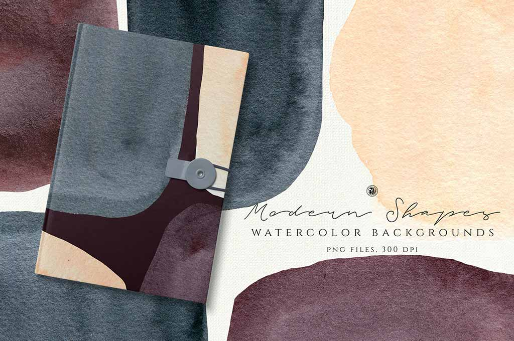 Watercolor Backgrounds: Modern Shapes