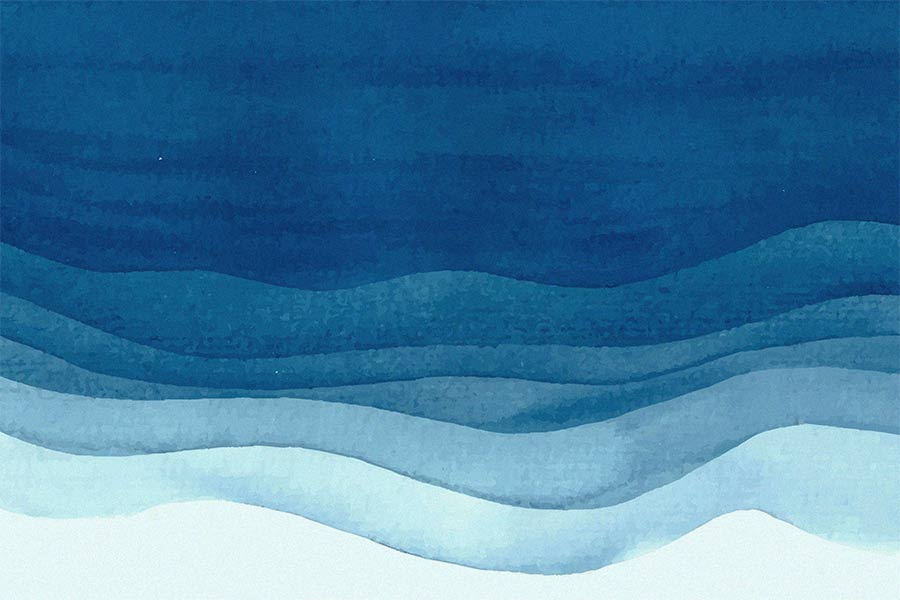 Watercolor With Blue Waves