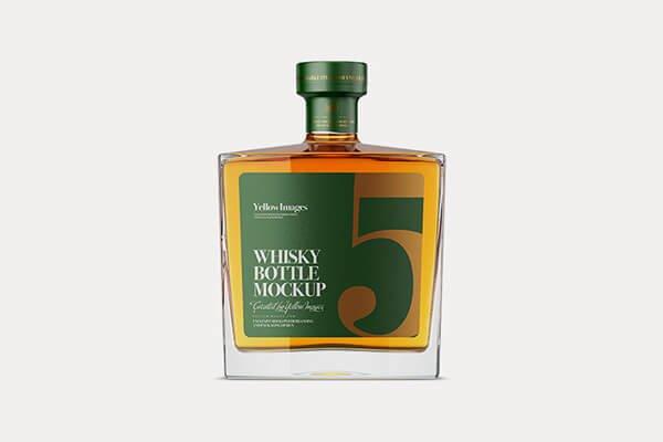 Whiskey Square Glass Bottle Mockup