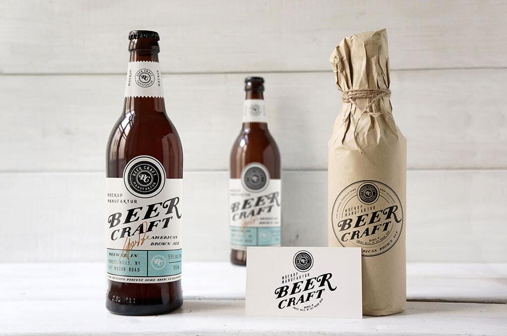 Wrapped Beer Bottle Mockup Set