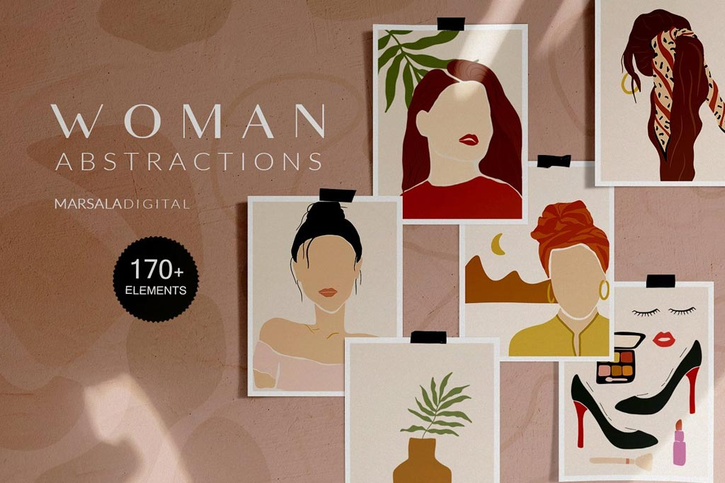 Abstract Woman Illustrations Prints
