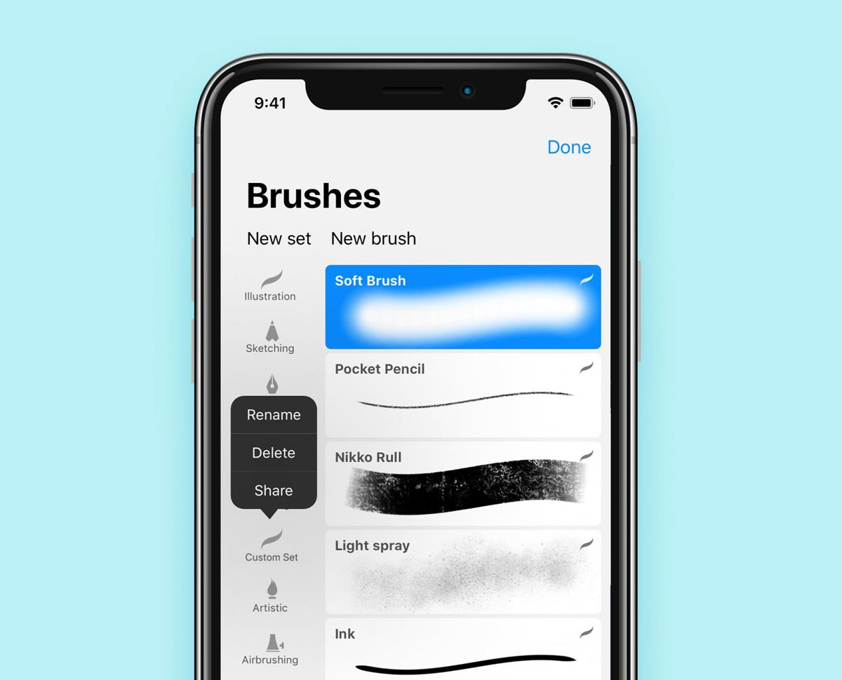 Brushes in Procreate Pocket