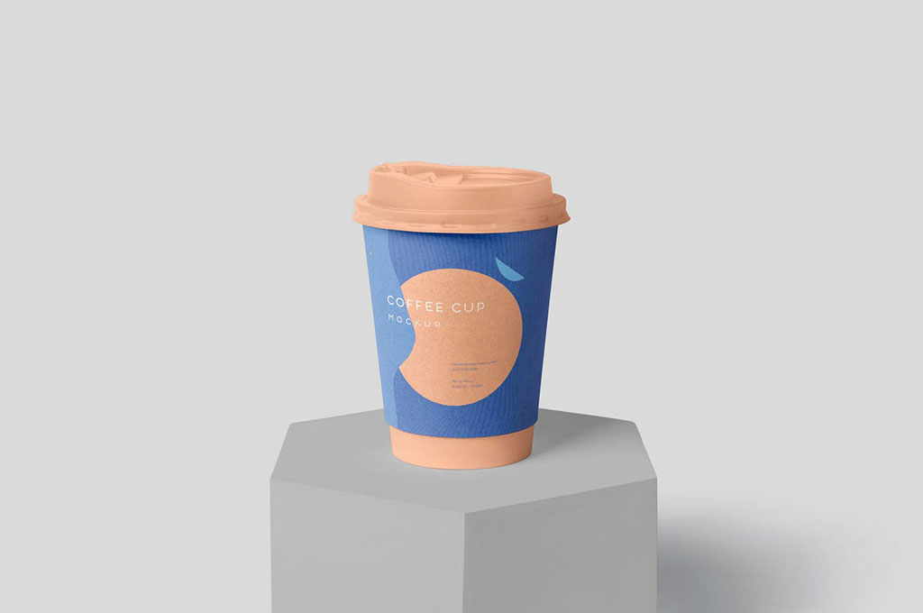 Disposable Coffee Cup Mockup Packaging Sleeve