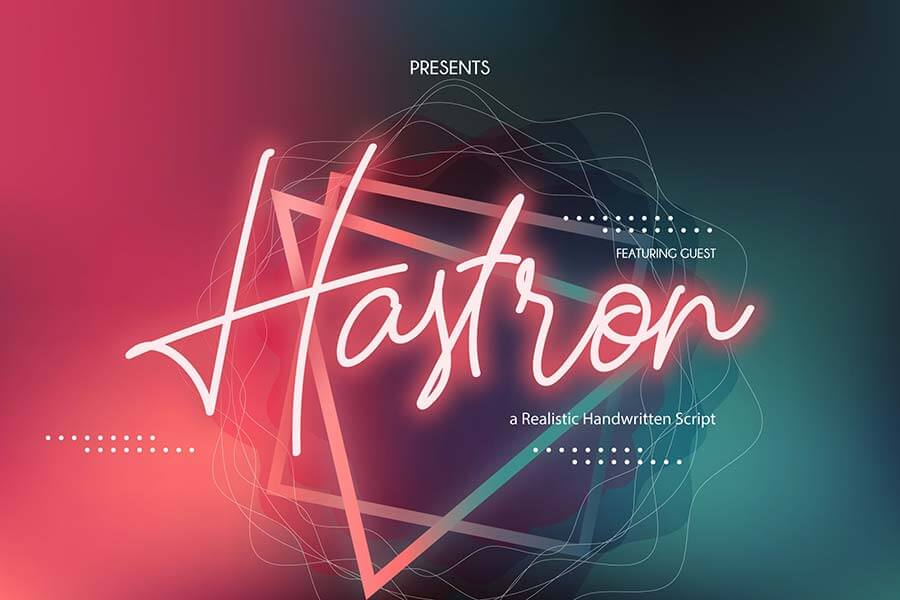 Hastron   Neon Monoline Script