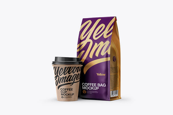 Matte Bag with Kraft Coffee Cup Mockup