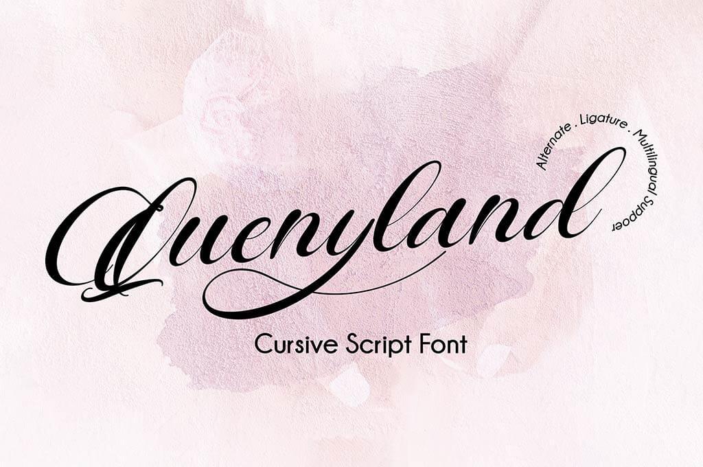 Quenyland - Cursive Script Font