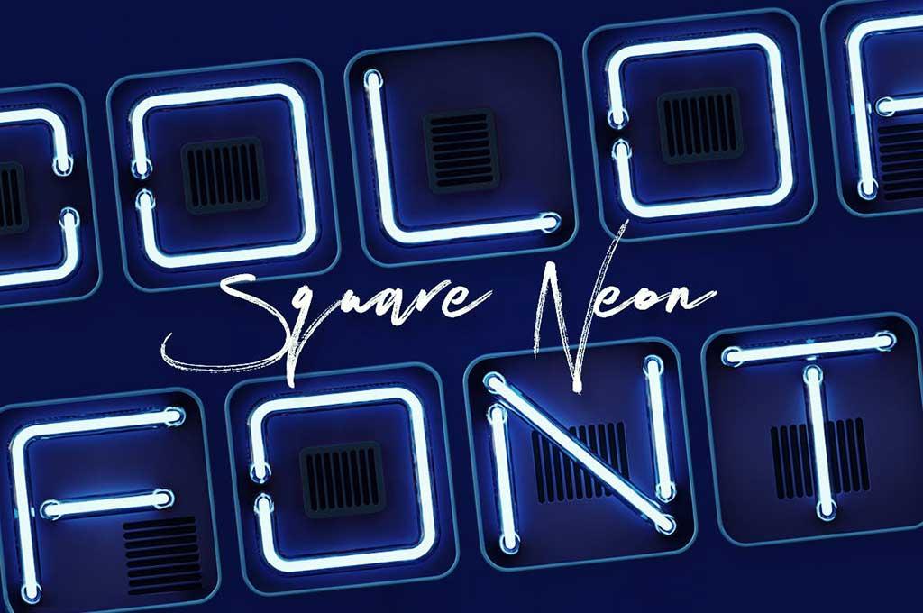 Square Neon — 3D Color SVG Font