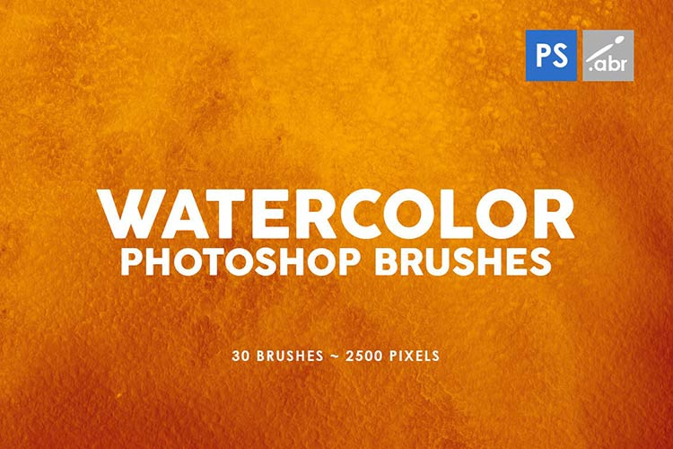 30 Watercolor Brushes for Photoshop