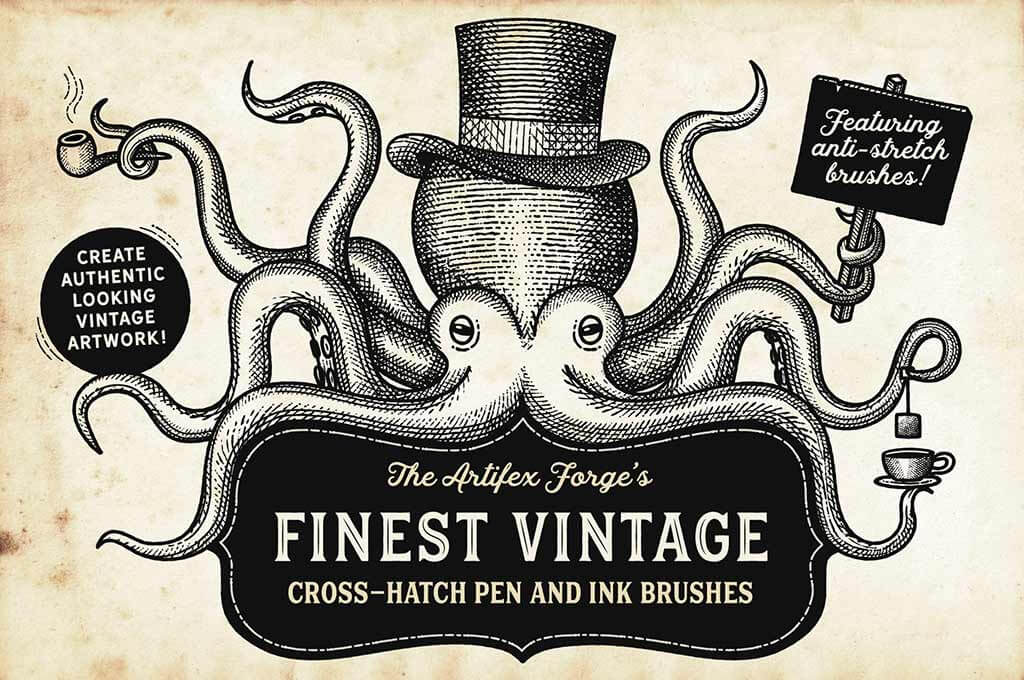 Finest Vintage — Illustrator Brushes