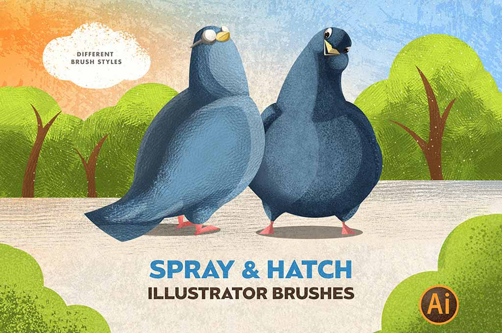 Spray & Hatch Illustrator Brushes