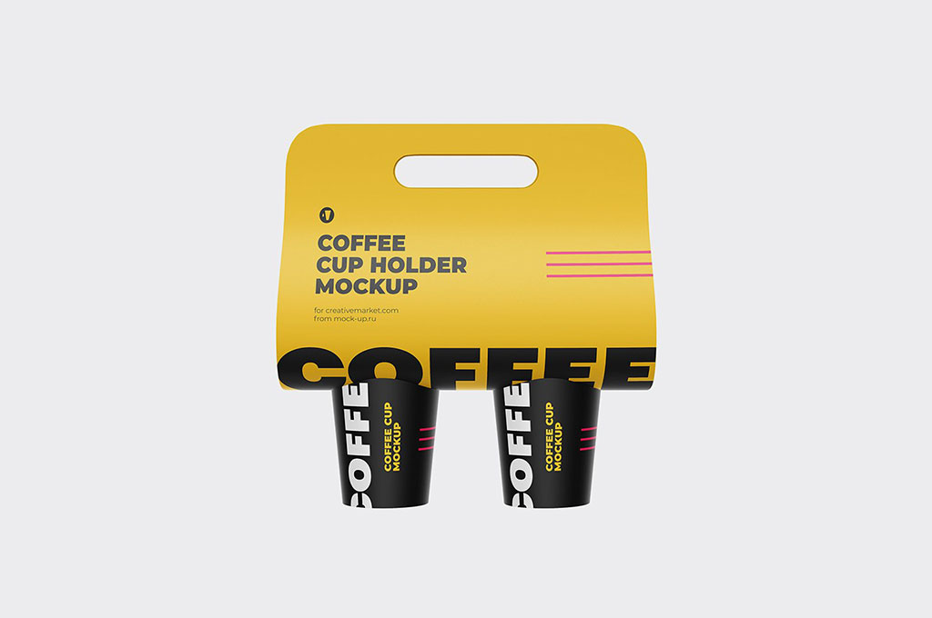Coffee Holder and Cup Mockup