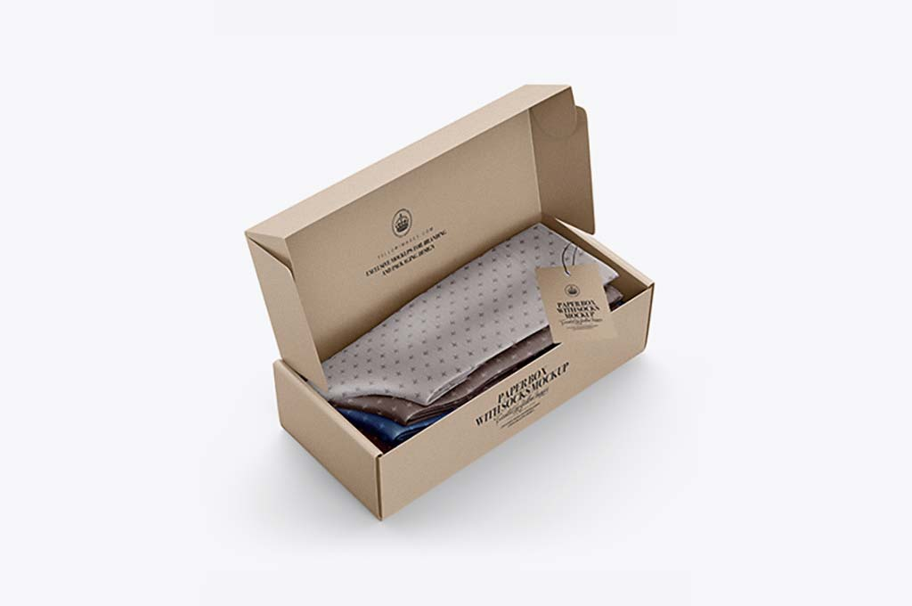 Kraft Paper Box With Socks Mockup