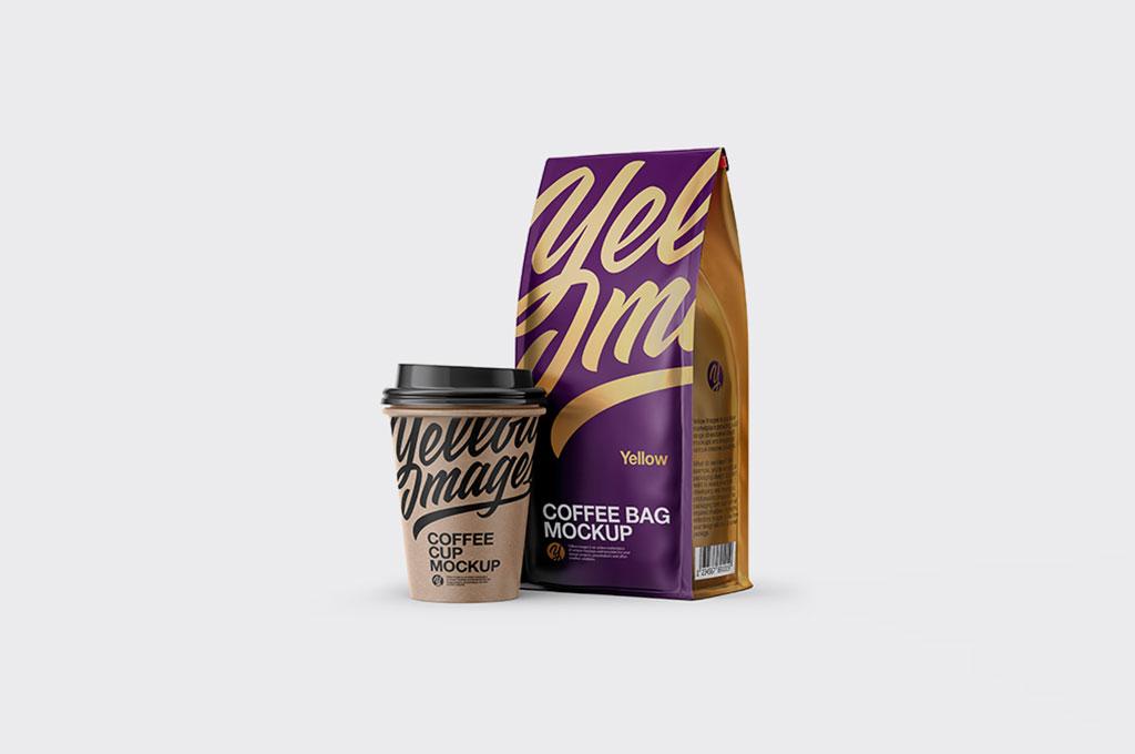 Matte Bag with Kraft Coffee Cup Mockup