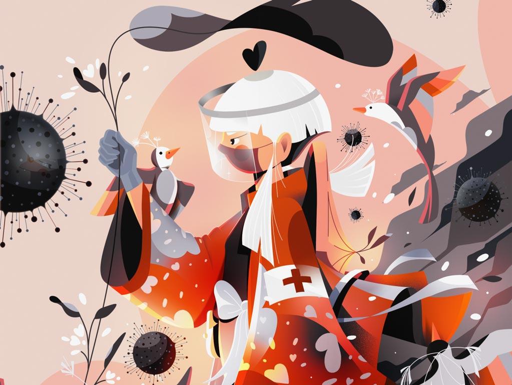 Medic Samurai vs Covid-19 by Nuria Boj