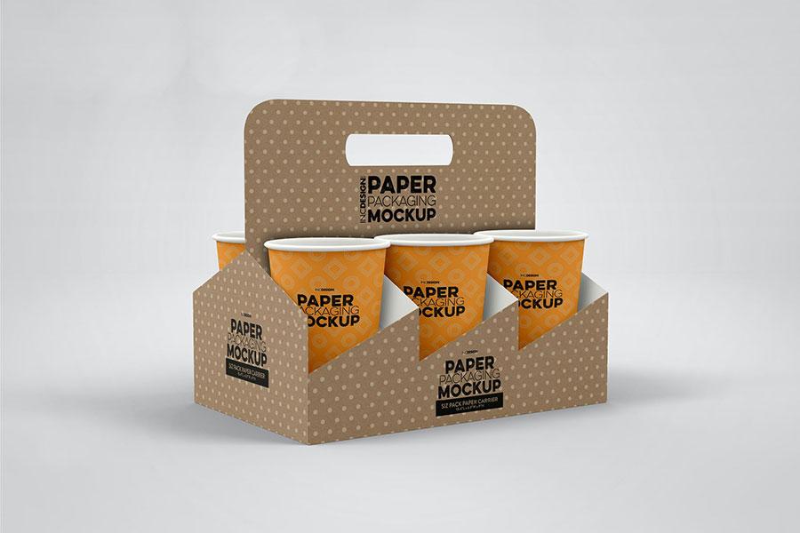 Paper Cup Holder Packaging Mockup