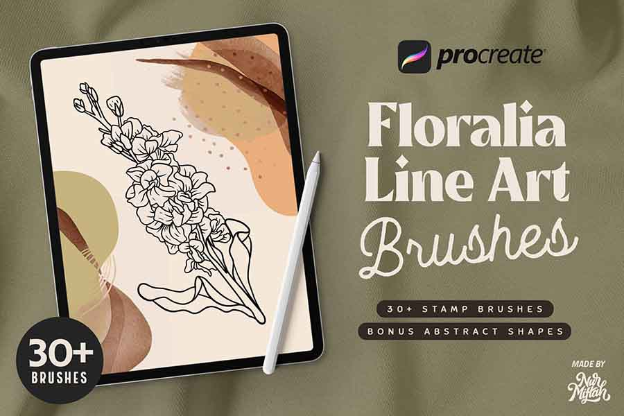 Procreate Floralia Line Art Brushes