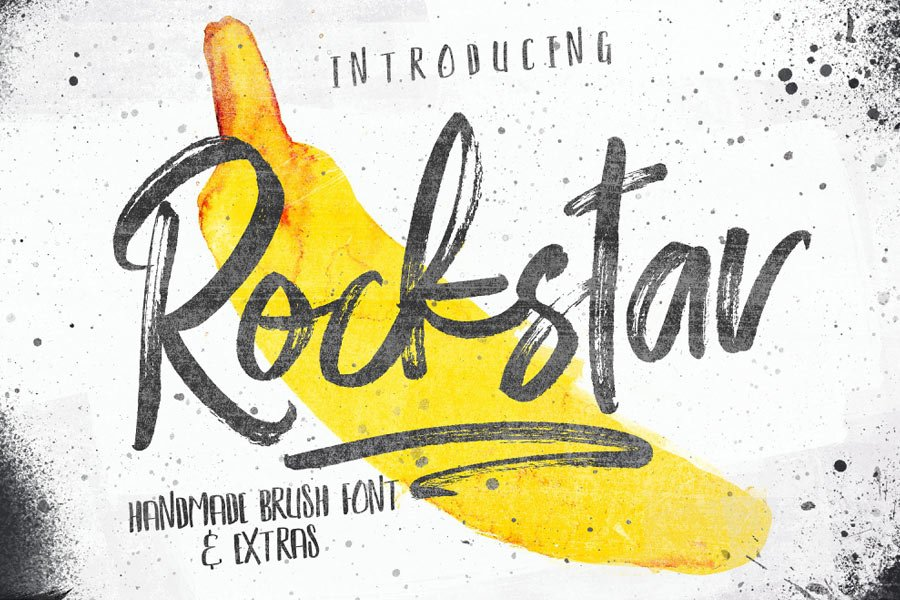 Rockstar — Free Font & Photoshop Brush Set