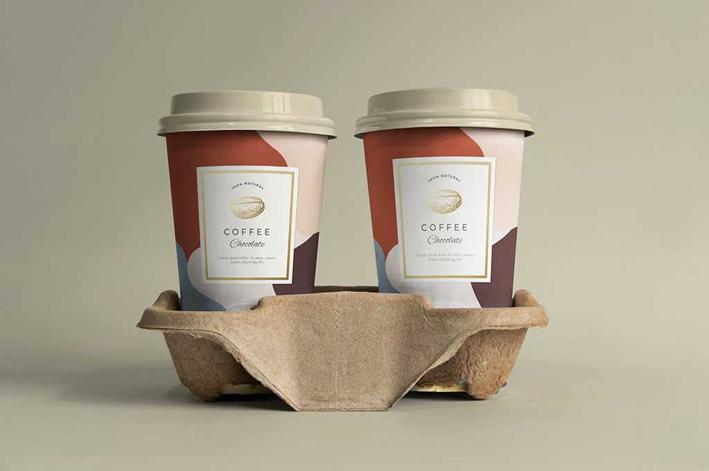 Two Pack Coffee Cup Mockup