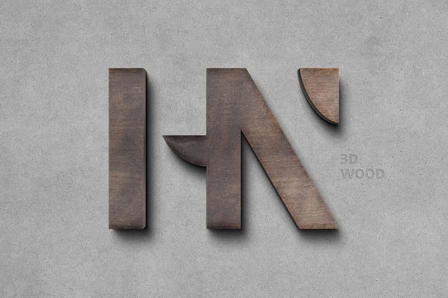 Wooden 3D Logo Mockup