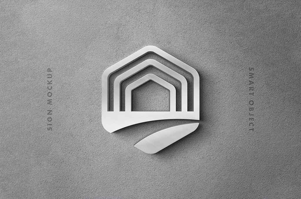 Silver Sign 3D Logo Mockup
