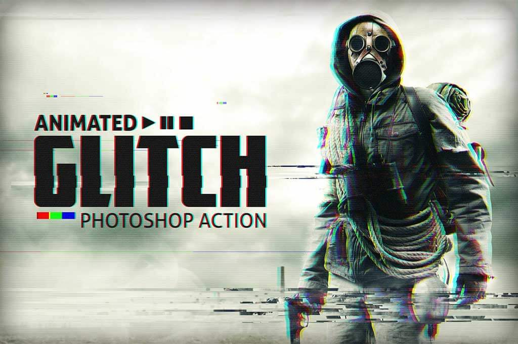 Animated Photoshop Glitch Action