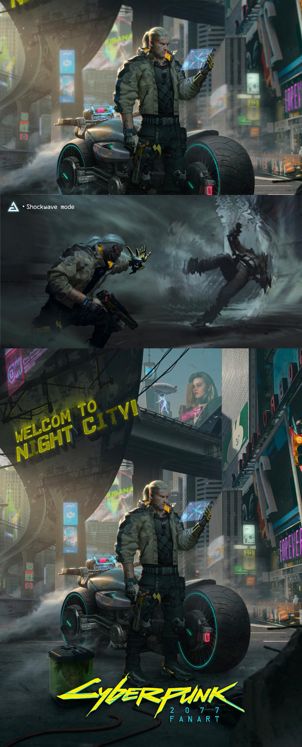 Cyberpunk 2077 X The Witcher Fan Art by R X