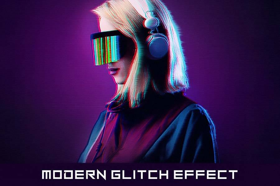 Cyberpunk Glitch Photoshop Action