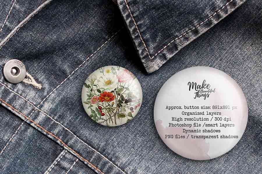 Isolated Pin Button Mockup