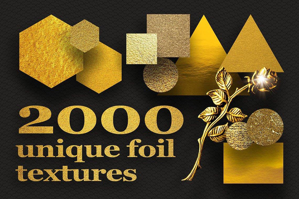 2000 Unique Foil Gold: Metal Textures